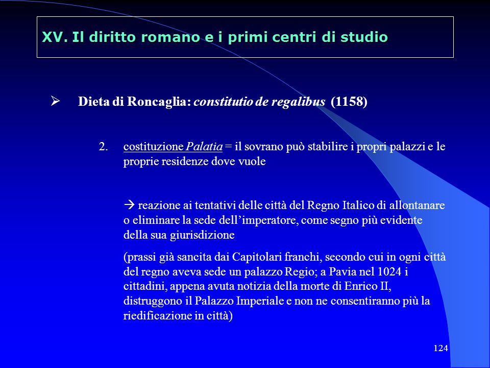 124 XV. Il diritto romano e i primi centri di studio Dieta di Roncaglia: constitutio de regalibus (1158) 2.costituzione Palatia = il sovrano può stabi