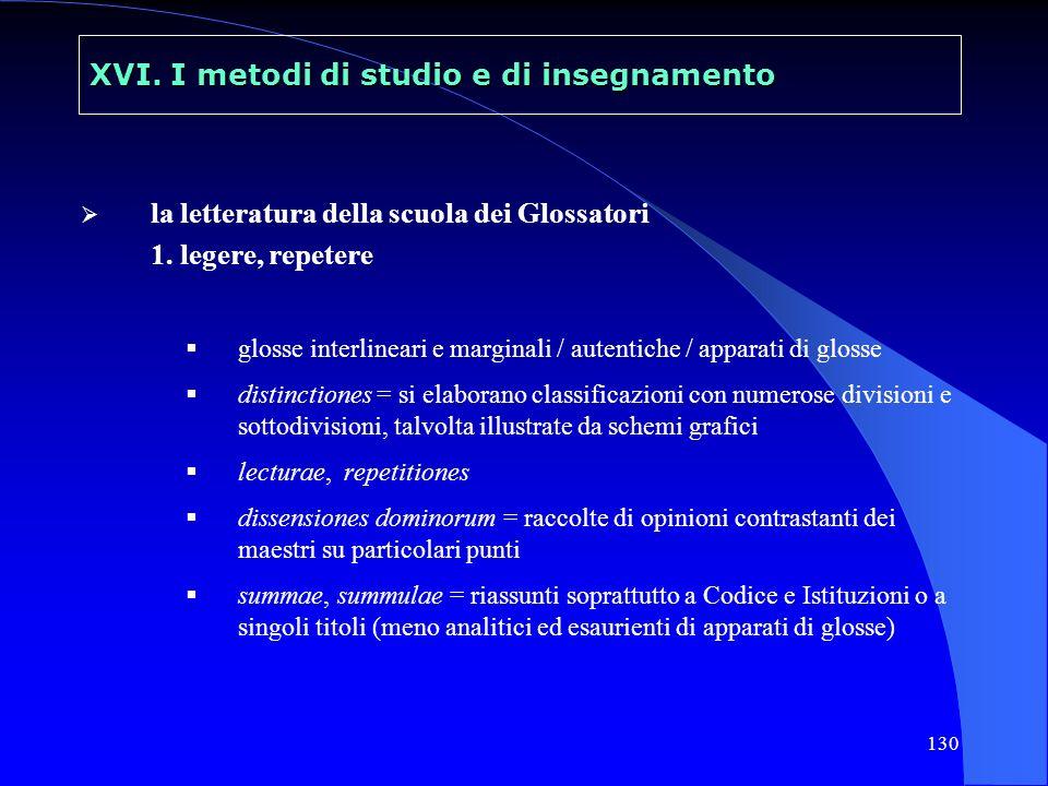 130 XVI. I metodi di studio e di insegnamento la letteratura della scuola dei Glossatori 1. legere, repetere glosse interlineari e marginali / autenti
