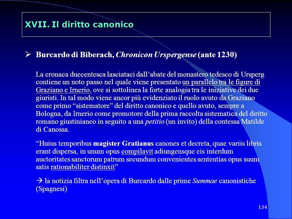 134 XVII. Il diritto canonico Burcardo di Biberach, Chronicon Urspergense (ante 1230) La cronaca duecentesca lasciataci dallabate del monastero tedesc