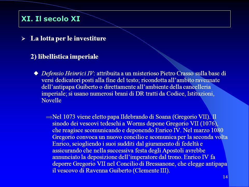 14 XI. Il secolo XI La lotta per le investiture 2) libellistica imperiale Defensio Heinrici IV: attribuita a un misterioso Pietro Crasso sulla base di