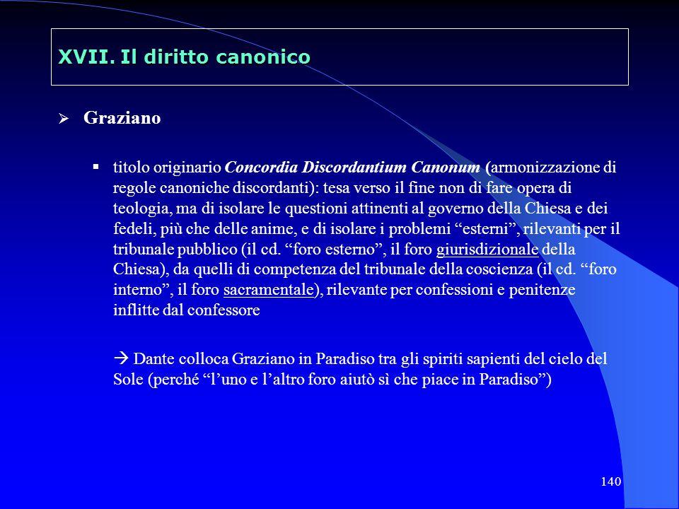 140 XVII. Il diritto canonico Graziano titolo originario Concordia Discordantium Canonum (armonizzazione di regole canoniche discordanti): tesa verso