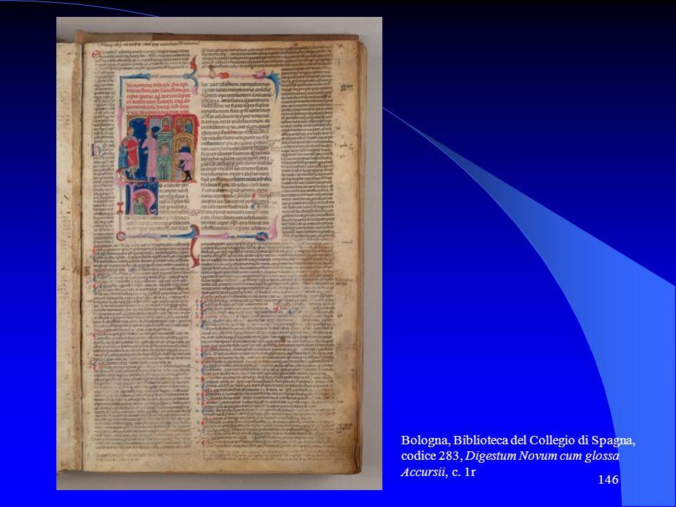 146 Bologna, Biblioteca del Collegio di Spagna, codice 283, Digestum Novum cum glossa Accursii, c. 1r