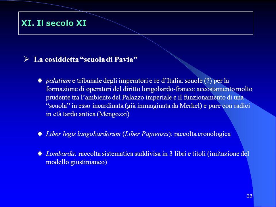 23 XI. Il secolo XI La cosiddetta scuola di Pavia palatium e tribunale degli imperatori e re dItalia: scuole (?) per la formazione di operatori del di