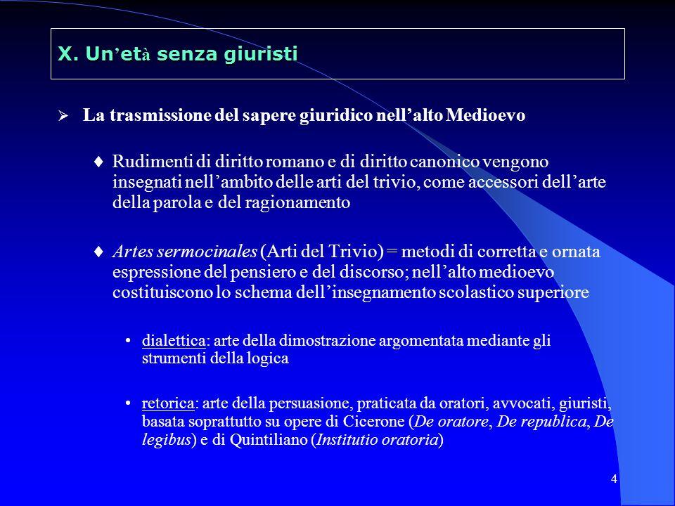 4 X. Un et à senza giuristi La trasmissione del sapere giuridico nellalto Medioevo Rudimenti di diritto romano e di diritto canonico vengono insegnati