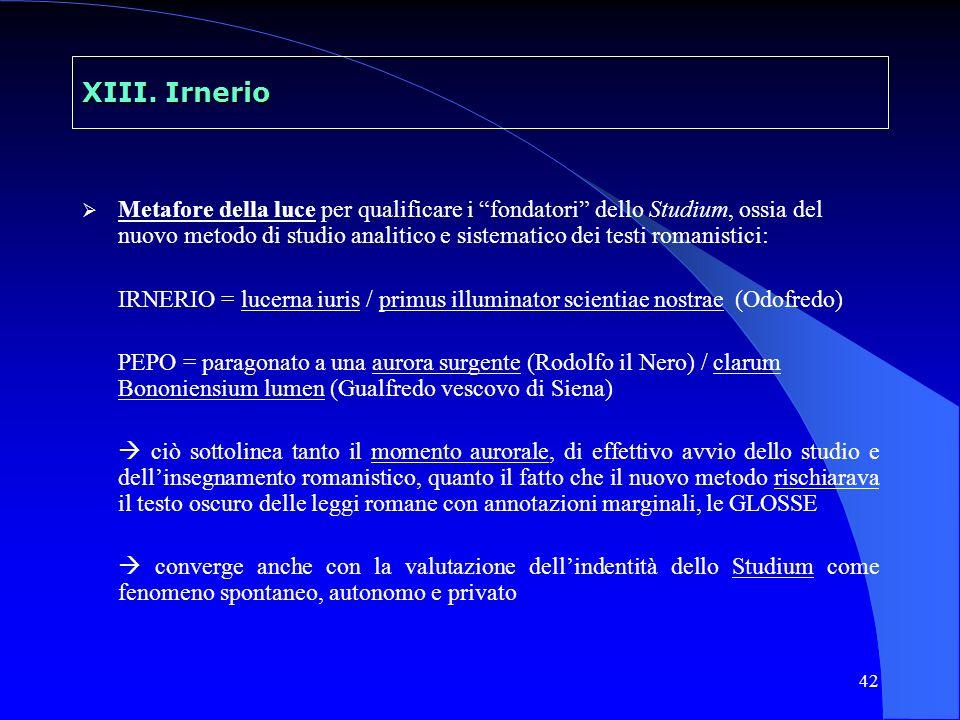 42 XIII. Irnerio Metafore della luce per qualificare i fondatori dello Studium, ossia del nuovo metodo di studio analitico e sistematico dei testi rom