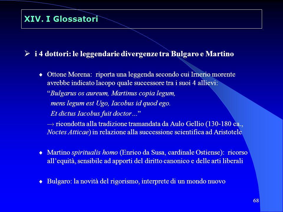 68 XIV. I Glossatori i 4 dottori: le leggendarie divergenze tra Bulgaro e Martino Ottone Morena: riporta una leggenda secondo cui Irnerio morente avre