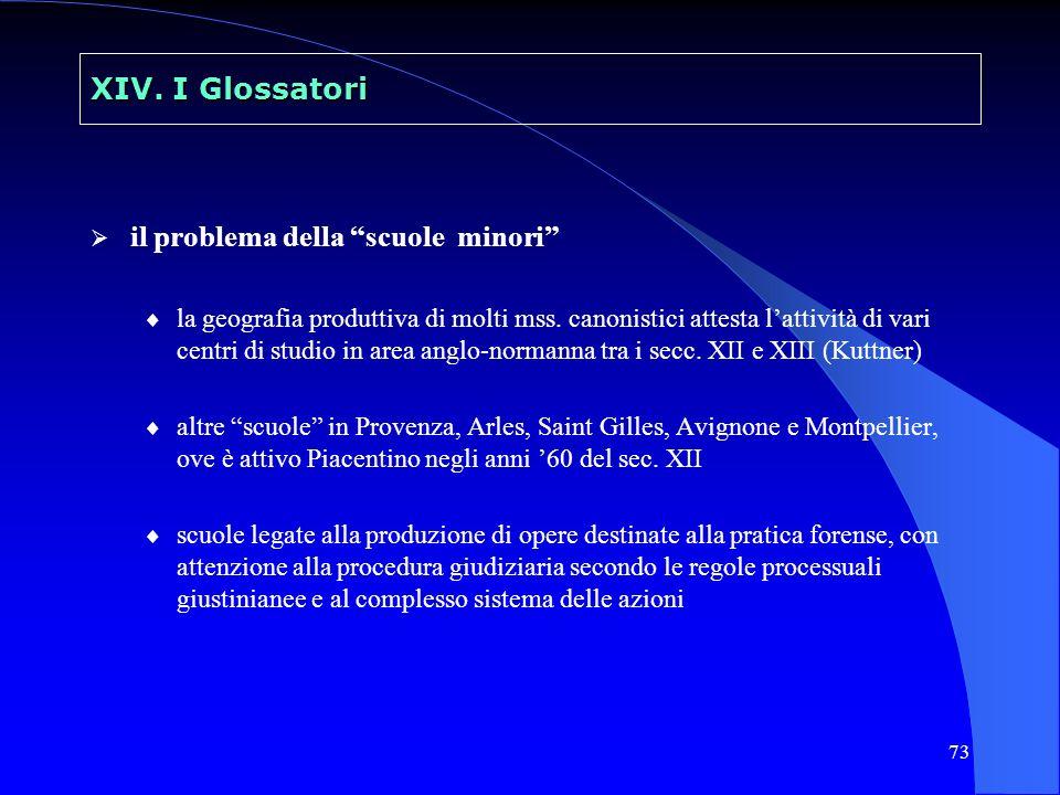 73 XIV. I Glossatori il problema della scuole minori la geografia produttiva di molti mss. canonistici attesta lattività di vari centri di studio in a