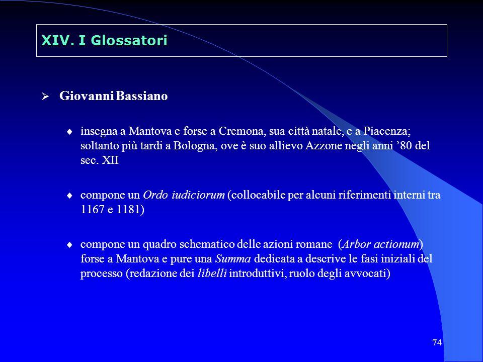 74 XIV. I Glossatori Giovanni Bassiano insegna a Mantova e forse a Cremona, sua città natale, e a Piacenza; soltanto più tardi a Bologna, ove è suo al