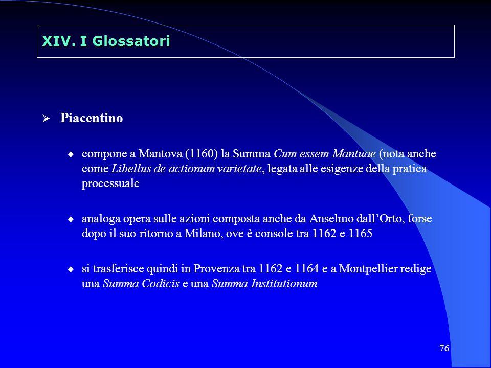 76 XIV. I Glossatori Piacentino compone a Mantova (1160) la Summa Cum essem Mantuae (nota anche come Libellus de actionum varietate, legata alle esige