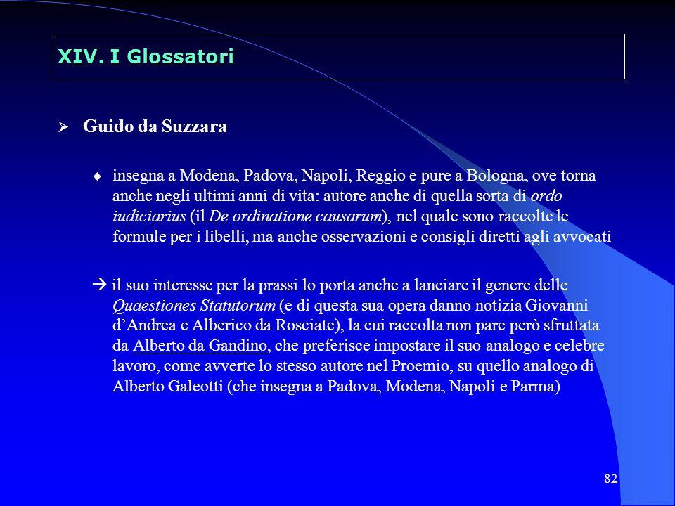 82 XIV. I Glossatori Guido da Suzzara insegna a Modena, Padova, Napoli, Reggio e pure a Bologna, ove torna anche negli ultimi anni di vita: autore anc