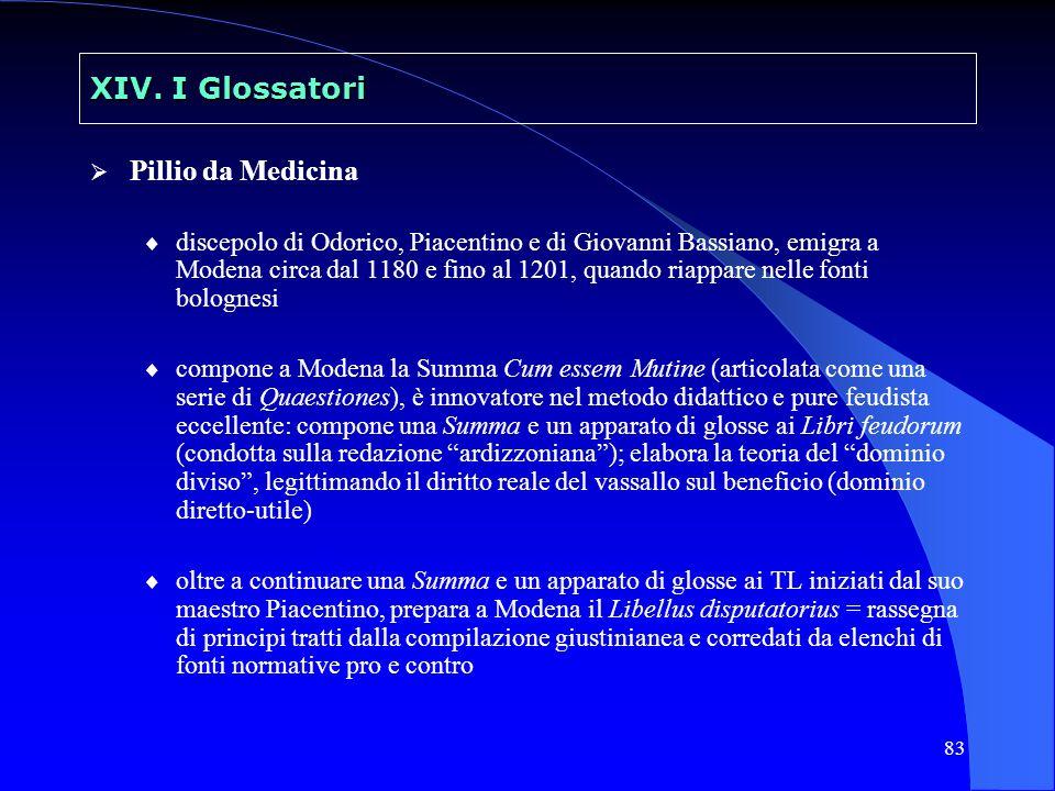83 XIV. I Glossatori Pillio da Medicina discepolo di Odorico, Piacentino e di Giovanni Bassiano, emigra a Modena circa dal 1180 e fino al 1201, quando
