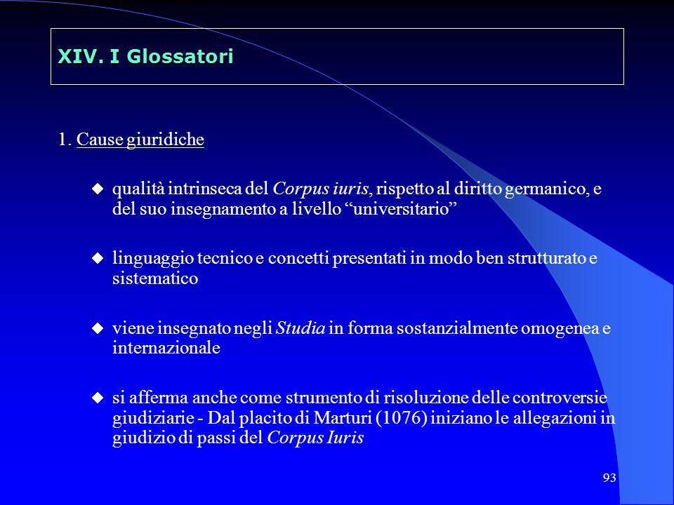 93 XIV. I Glossatori 1. Cause giuridiche qualità intrinseca del Corpus iuris, rispetto al diritto germanico, e del suo insegnamento a livello universi