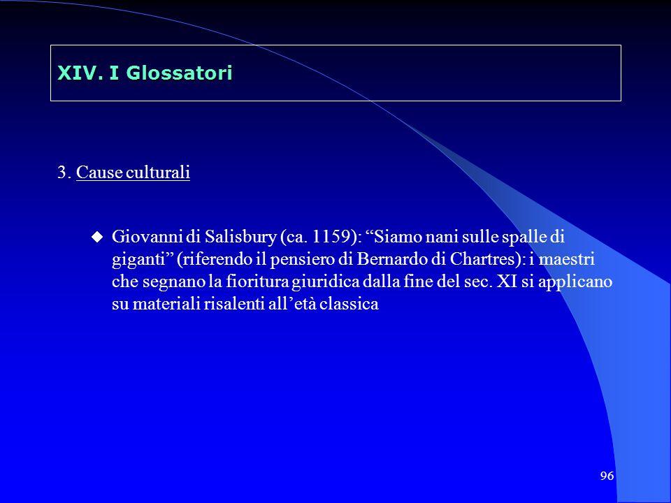 96 XIV. I Glossatori 3. Cause culturali Giovanni di Salisbury (ca. 1159): Siamo nani sulle spalle di giganti (riferendo il pensiero di Bernardo di Cha