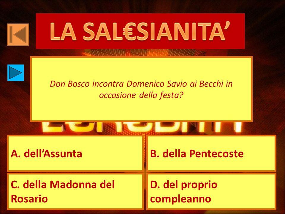 A. dellAssuntaB. della Pentecoste C. della Madonna del Rosario D. del proprio compleanno Don Bosco incontra Domenico Savio ai Becchi in occasione dell