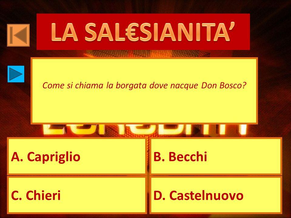 A. CapriglioB. Becchi C. ChieriD. Castelnuovo Come si chiama la borgata dove nacque Don Bosco?