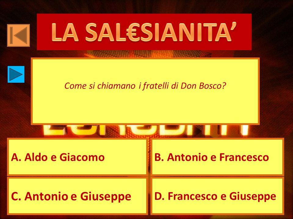 A. Aldo e GiacomoB. Antonio e Francesco C. Antonio e Giuseppe D. Francesco e Giuseppe Come si chiamano i fratelli di Don Bosco?