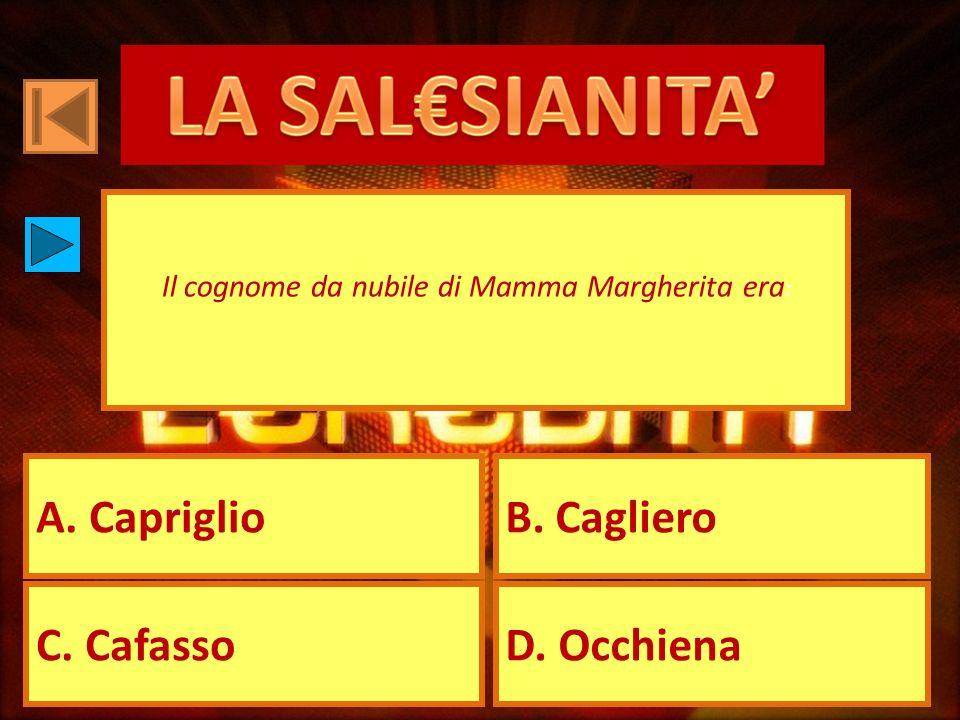 A. CapriglioB. Cagliero C. CafassoD. Occhiena Il cognome da nubile di Mamma Margherita era :
