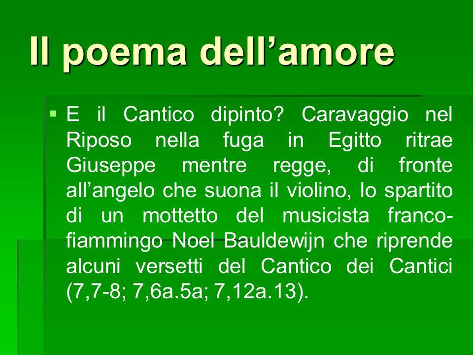 Riccardo Cinalli colloca gli amanti dietro o sopra dei tulipani, fiore con bulbo, così come fiori con bulbo sono quelli citati dal cantico, come per esempio il narciso.