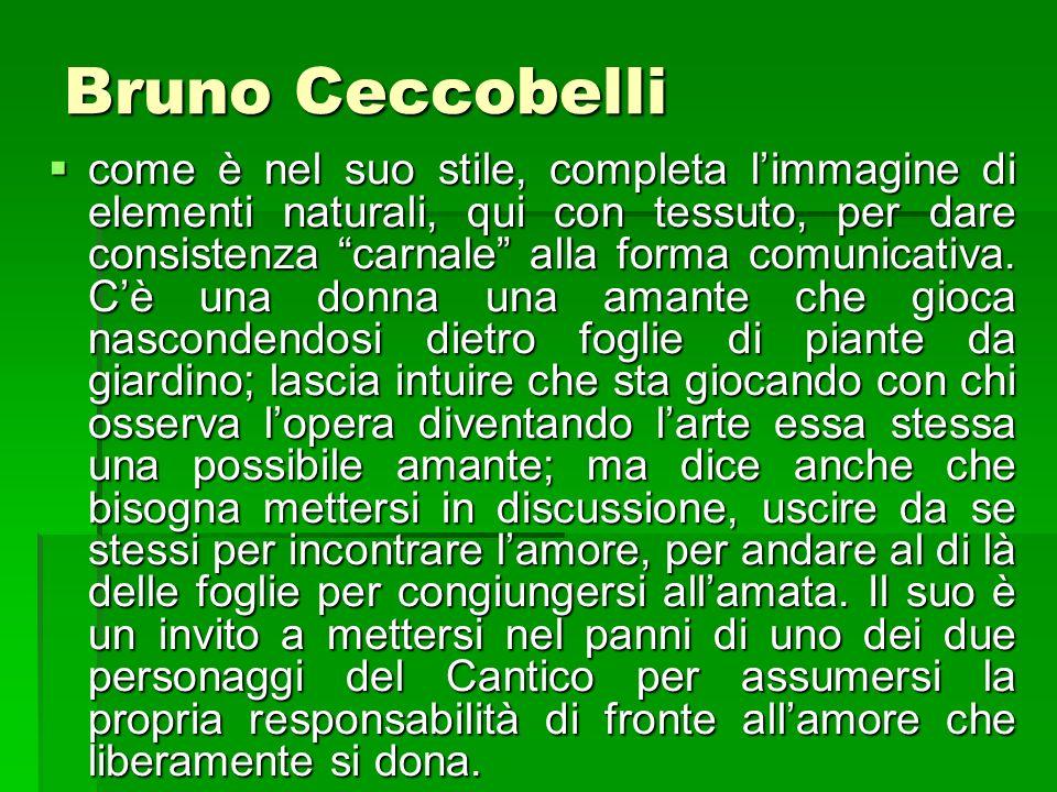Bruno Ceccobelli come è nel suo stile, completa limmagine di elementi naturali, qui con tessuto, per dare consistenza carnale alla forma comunicativa.