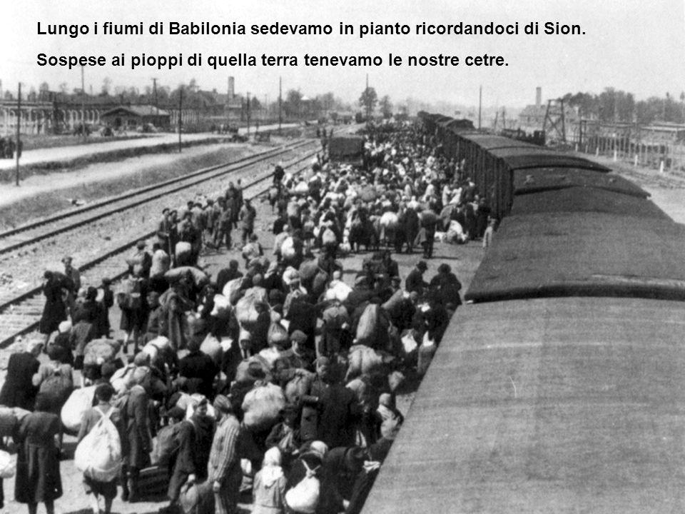 Lungo i fiumi di Babilonia sedevamo in pianto ricordandoci di Sion. Sospese ai pioppi di quella terra tenevamo le nostre cetre.