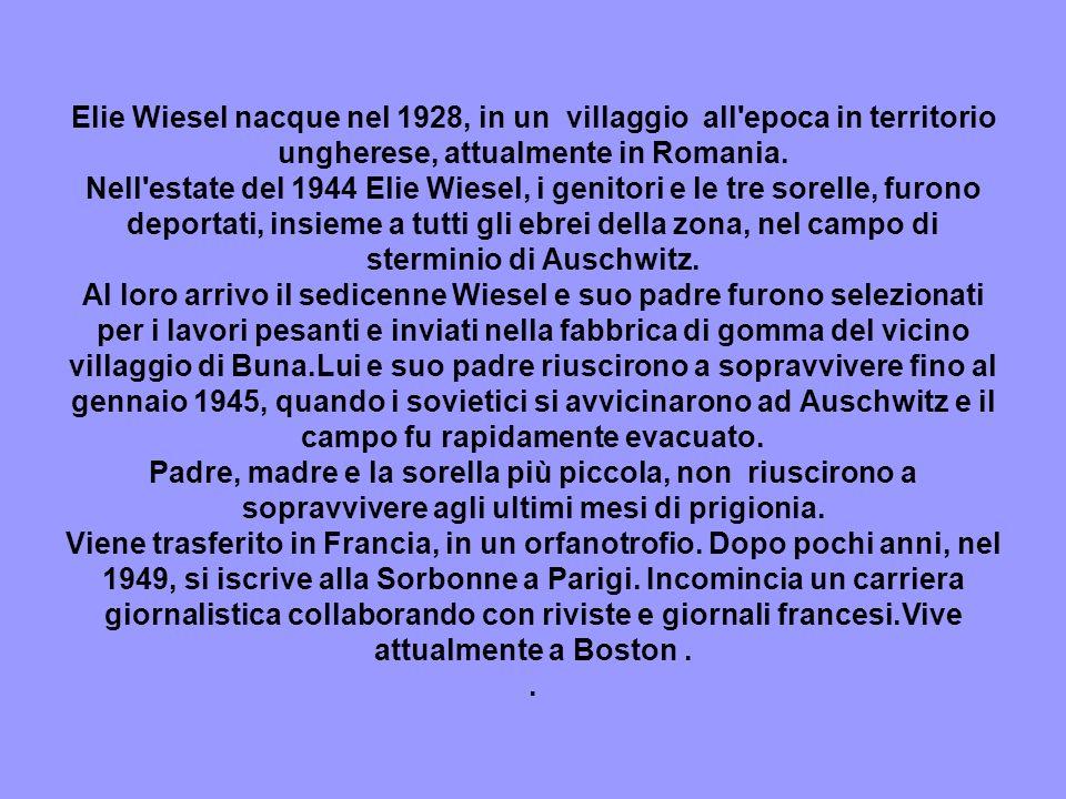 Elie Wiesel nacque nel 1928, in un villaggio all'epoca in territorio ungherese, attualmente in Romania. Nell'estate del 1944 Elie Wiesel, i genitori e