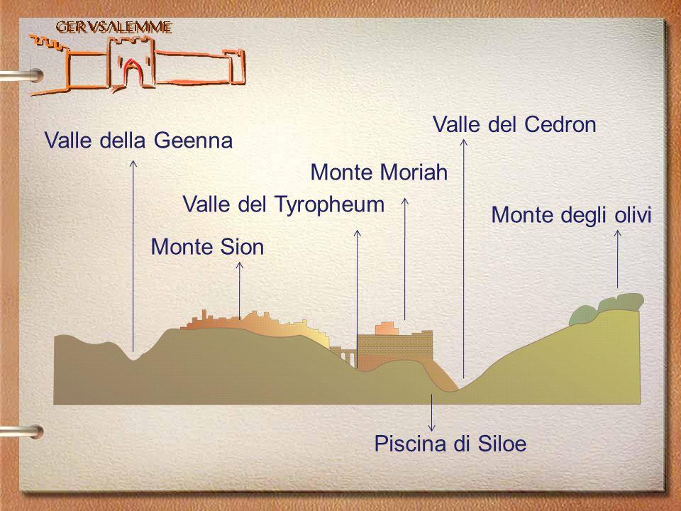 Gerusalemme Monte degli olivi Monte Moriah Monte Sion Piscina di Siloe Valle del Cedron Valle del Tyropheum Valle della Geenna
