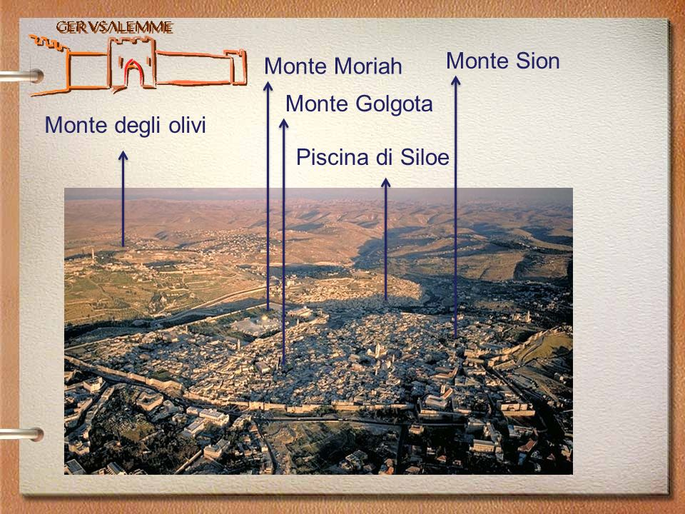 Gerusalemme Monte degli olivi Monte Moriah Monte Sion Monte Golgota Piscina di Siloe