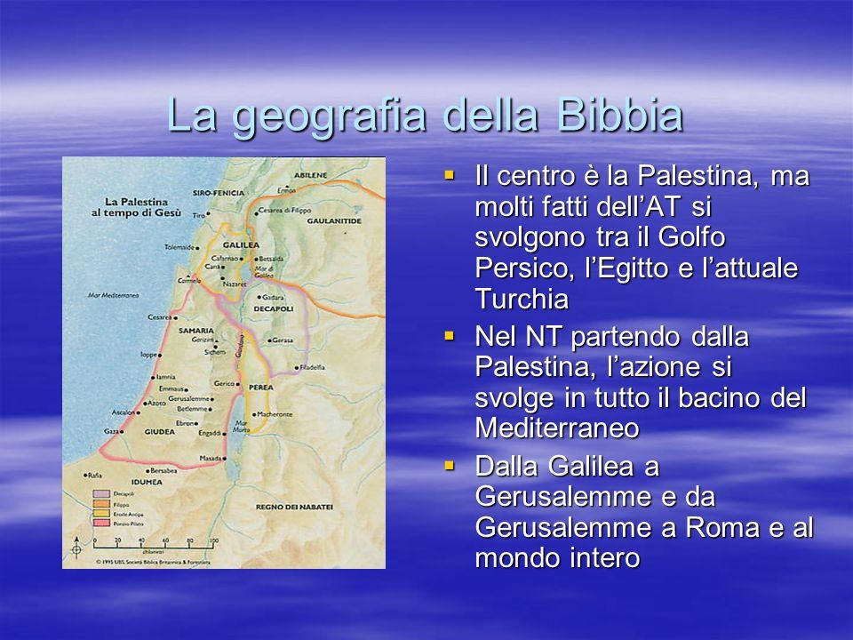 La geografia della Bibbia Il centro è la Palestina, ma molti fatti dellAT si svolgono tra il Golfo Persico, lEgitto e lattuale Turchia Il centro è la