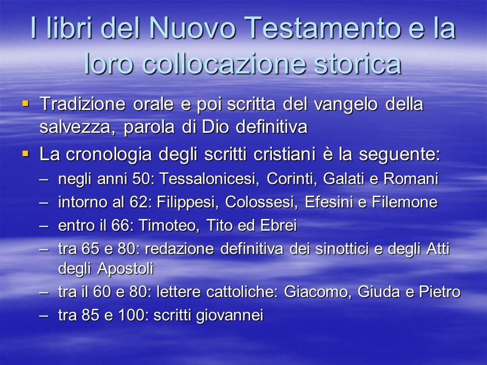 I libri del Nuovo Testamento e la loro collocazione storica Tradizione orale e poi scritta del vangelo della salvezza, parola di Dio definitiva Tradiz
