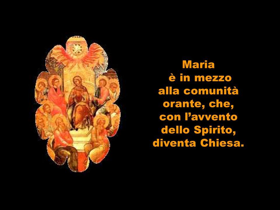 Maria è in mezzo alla comunità orante, che, con lavvento dello Spirito, diventa Chiesa.
