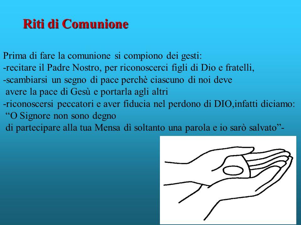 Prima di fare la comunione si compiono dei gesti: -recitare il Padre Nostro, per riconoscerci figli di Dio e fratelli, -scambiarsi un segno di pace pe
