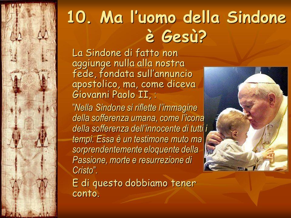 La Sindone di fatto non aggiunge nulla alla nostra fede, fondata sullannuncio apostolico, ma, come diceva Giovanni Paolo II, : La Sindone di fatto non