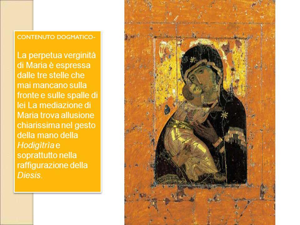 CONTENUTO DOGMATICO - La perpetua verginità di Maria è espressa dalle tre stelle che mai mancano sulla fronte e sulle spalle di lei La mediazione di M