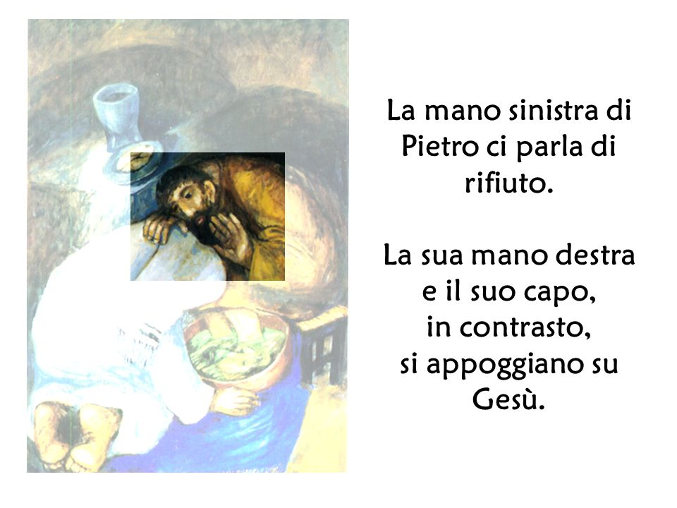La mano sinistra di Pietro ci parla di rifiuto. La sua mano destra e il suo capo, in contrasto, si appoggiano su Gesù.