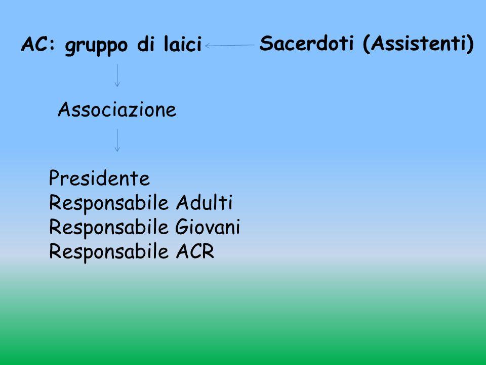 AC: gruppo di laici Sacerdoti (Assistenti) Associazione Presidente Responsabile Adulti Responsabile Giovani Responsabile ACR