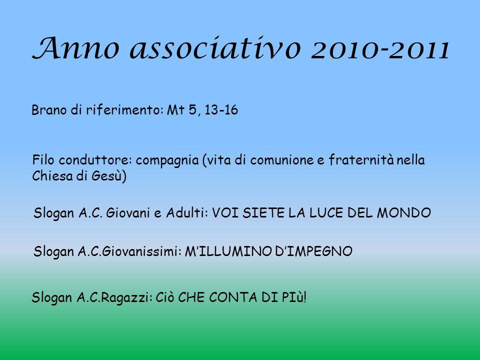 Anno associativo 2010-2011 Slogan A.C.Ragazzi: Ciò CHE CONTA DI PIù! Brano di riferimento: Mt 5, 13-16 Filo conduttore: compagnia (vita di comunione e