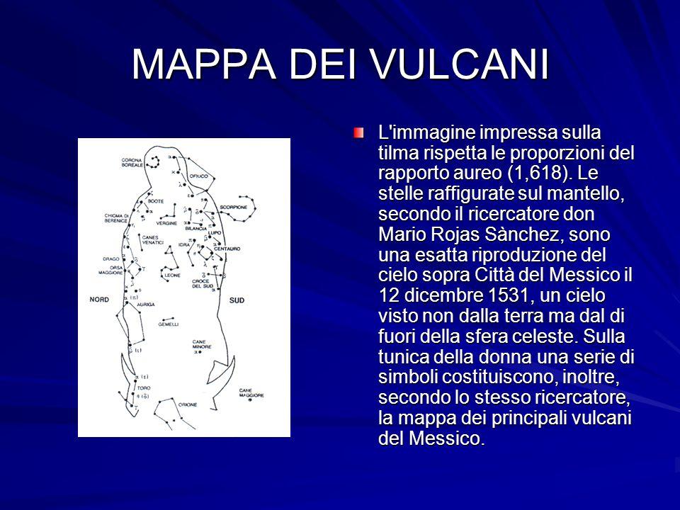 MAPPA DEI VULCANI L immagine impressa sulla tilma rispetta le proporzioni del rapporto aureo (1,618).