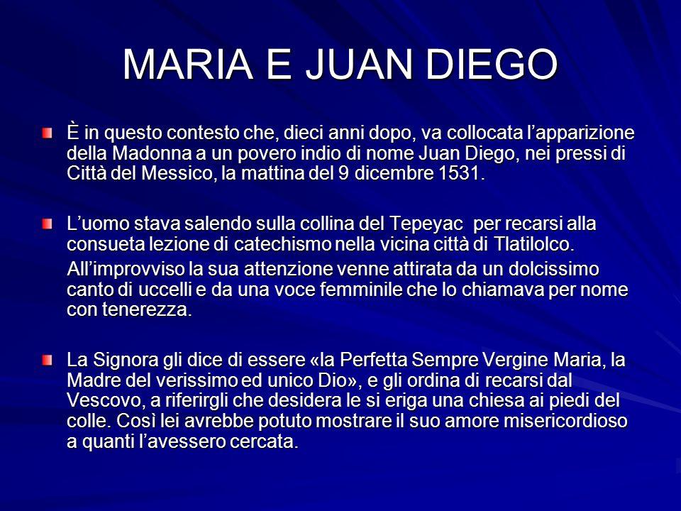 MARIA E JUAN DIEGO È in questo contesto che, dieci anni dopo, va collocata lapparizione della Madonna a un povero indio di nome Juan Diego, nei pressi di Città del Messico, la mattina del 9 dicembre 1531.