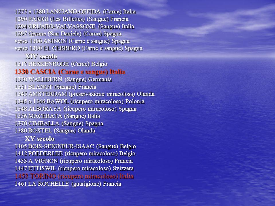 XVI secolo 1533 MARSEILLE EN BEAUVAISIS (ricupero miracoloso) Francia 1533-1536 PONFERRADA (ricupero miracoloso) Spagna 1536 TRANS EN PR OVENCE (preservazione miracolosa) Francia 1560 MORROVALLE (preservazione miracolosa) Italia 1592 GORCUM-ESCORIAL (Sangue) Olanda XVII secolo 1601 LA VIL VENA (preservazione miracolosa) Spagna 1608 FAVERNEY (preservazione miracolosa) Francia 1630 CANOSIO (torrente fermato) Italia 1631 DRONERO (incendio fermato) Italia 1668 LES ULMES (apparizione) Francia 1670 MIRADOUX (incendio fermato) Francia 1686 SINT DENIJS - WESTREM (ricupero miracoloso) Belgio XVIII secolo 1710 TARTANEDO (Sangue) Spagna 1725 PARIGI (guarigione) Francia 1730 SIENA (conservazione miracolosa) Italia 1732 SCALA (apparizione) Italia 1772 PATIERNO (ricupero miracoloso) Italia 1793 PEZILLA LA RIVIERE (conservazione miracolosa) Francia XIX secolo 1822 BORDEAUX (apparizione) Francia 1828 HARTMANNSWILLER (apparizione) Francia