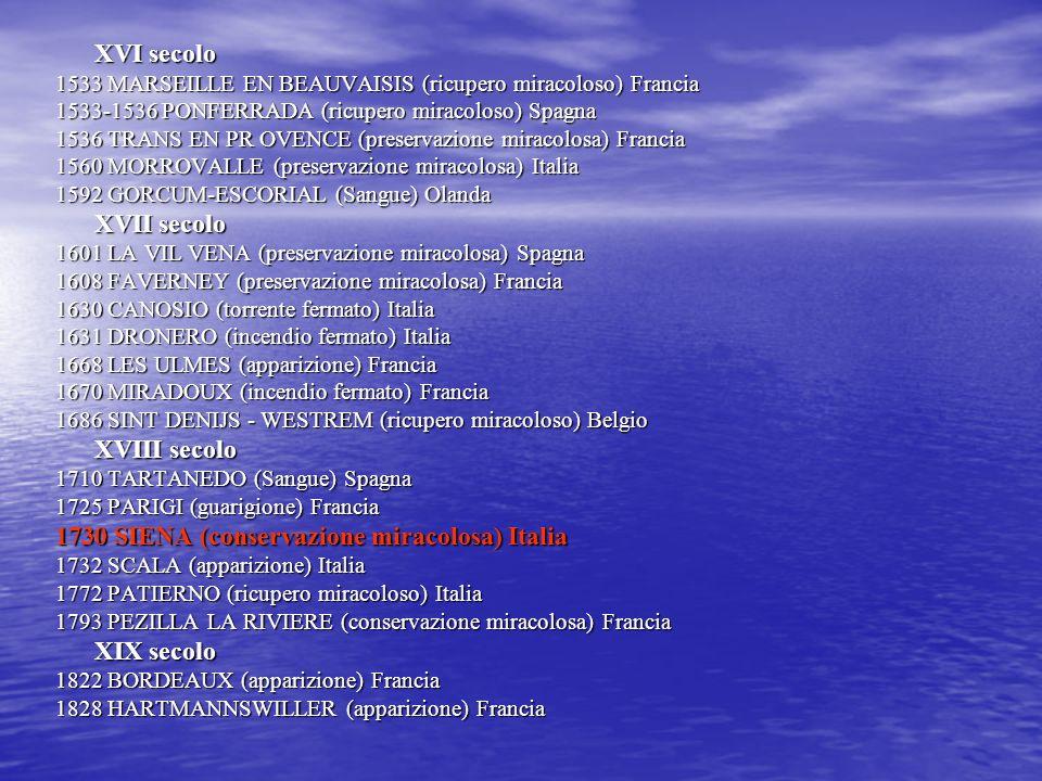 XVI secolo 1533 MARSEILLE EN BEAUVAISIS (ricupero miracoloso) Francia 1533-1536 PONFERRADA (ricupero miracoloso) Spagna 1536 TRANS EN PR OVENCE (prese
