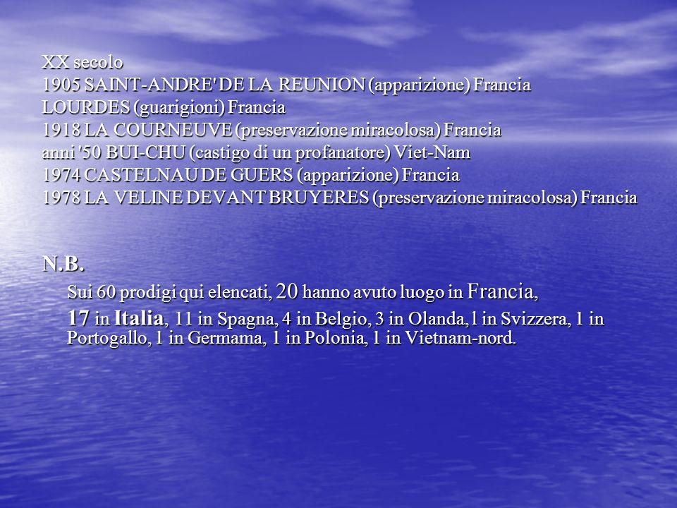 XX secolo 1905 SAINT-ANDRE' DE LA REUNION (apparizione) Francia LOURDES (guarigioni) Francia 1918 LA COURNEUVE (preservazione miracolosa) Francia anni