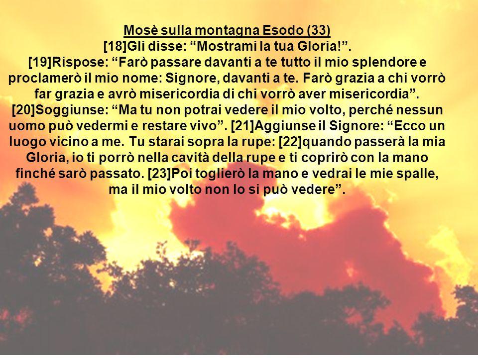 Mosè sulla montagna Esodo (33) [18]Gli disse: Mostrami la tua Gloria!. [19]Rispose: Farò passare davanti a te tutto il mio splendore e proclamerò il m