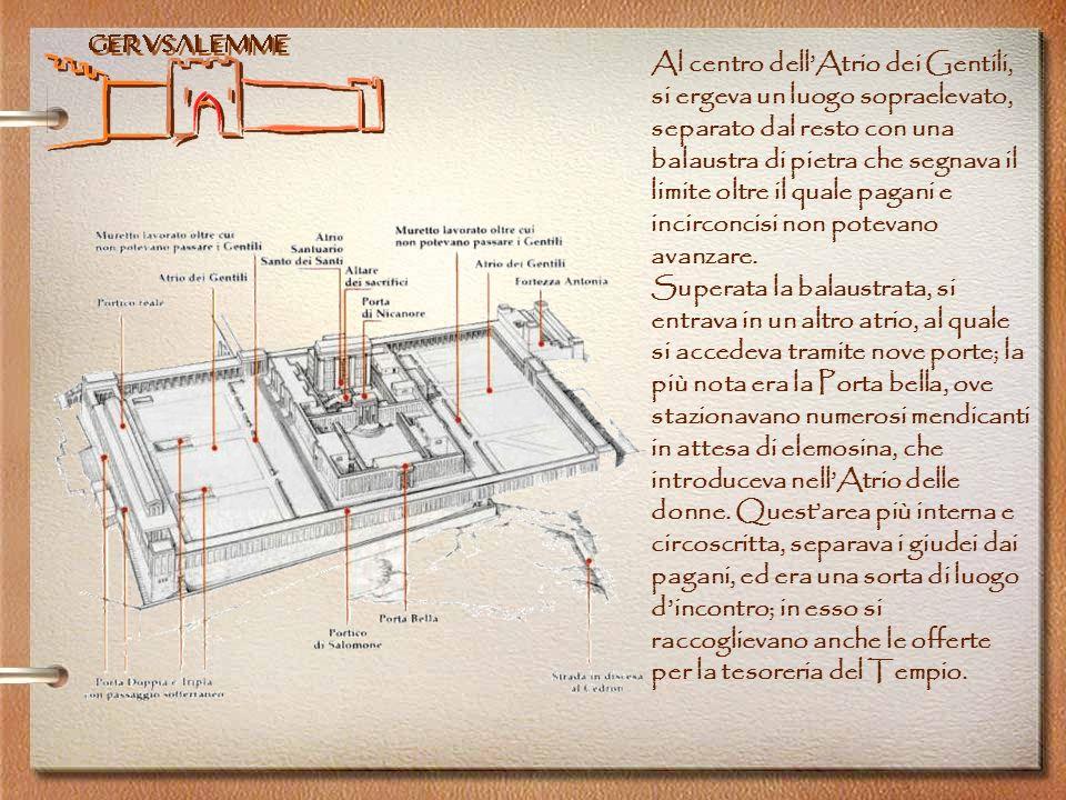 Gerusalemme Al centro dellAtrio dei Gentili, si ergeva un luogo sopraelevato, separato dal resto con una balaustra di pietra che segnava il limite olt