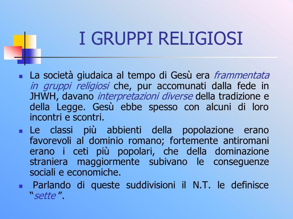 I GRUPPI RELIGIOSI La società giudaica al tempo di Gesù era frammentata in gruppi religiosi che, pur accomunati dalla fede in JHWH, davano interpretazioni diverse della tradizione e della Legge.