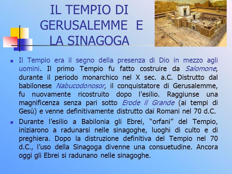 IL TEMPIO DI GERUSALEMME E LA SINAGOGA Il Tempio era il segno della presenza di Dio in mezzo agli uomini. Il primo Tempio fu fatto costruire da Salomo