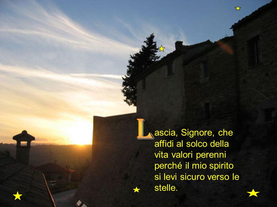 ascia, Signore, che affidi al solco della vita valori perenni perché il mio spirito si levi sicuro verso le stelle.