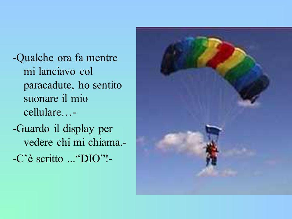-Qualche ora fa mentre mi lanciavo col paracadute, ho sentito suonare il mio cellulare…- -Guardo il display per vedere chi mi chiama.- -Cè scritto...D