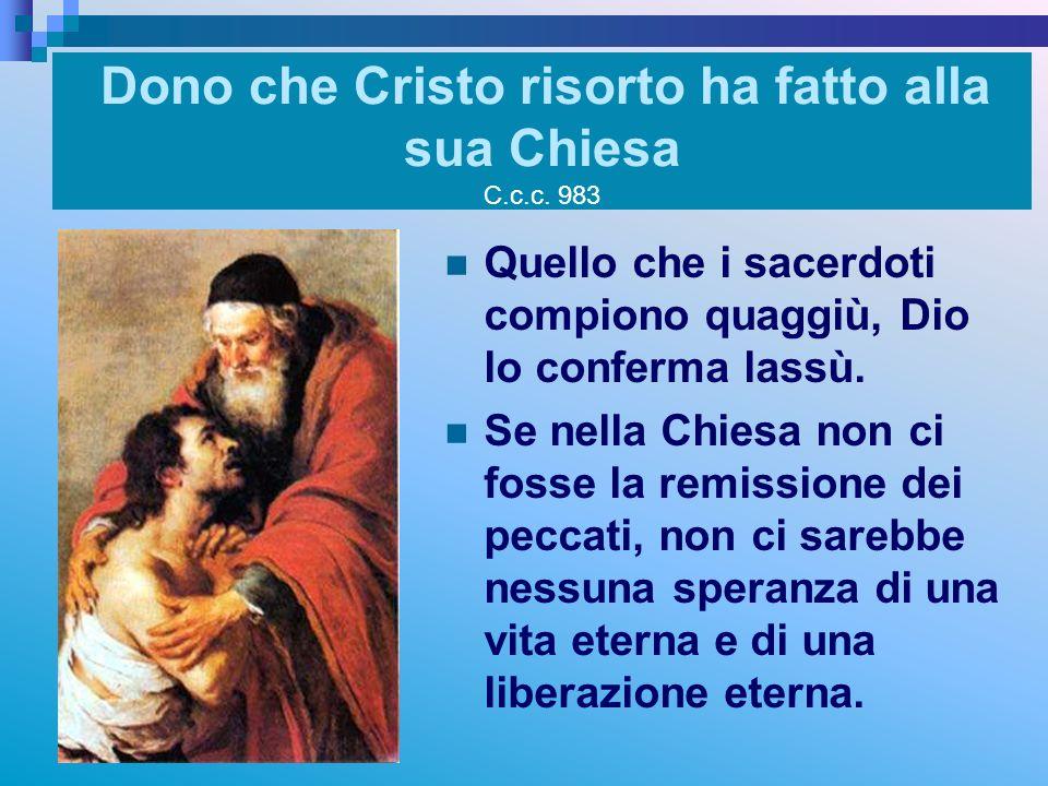 Dono che Cristo risorto ha fatto alla sua Chiesa C.c.c. 983 Quello che i sacerdoti compiono quaggiù, Dio lo conferma lassù. Se nella Chiesa non ci fos