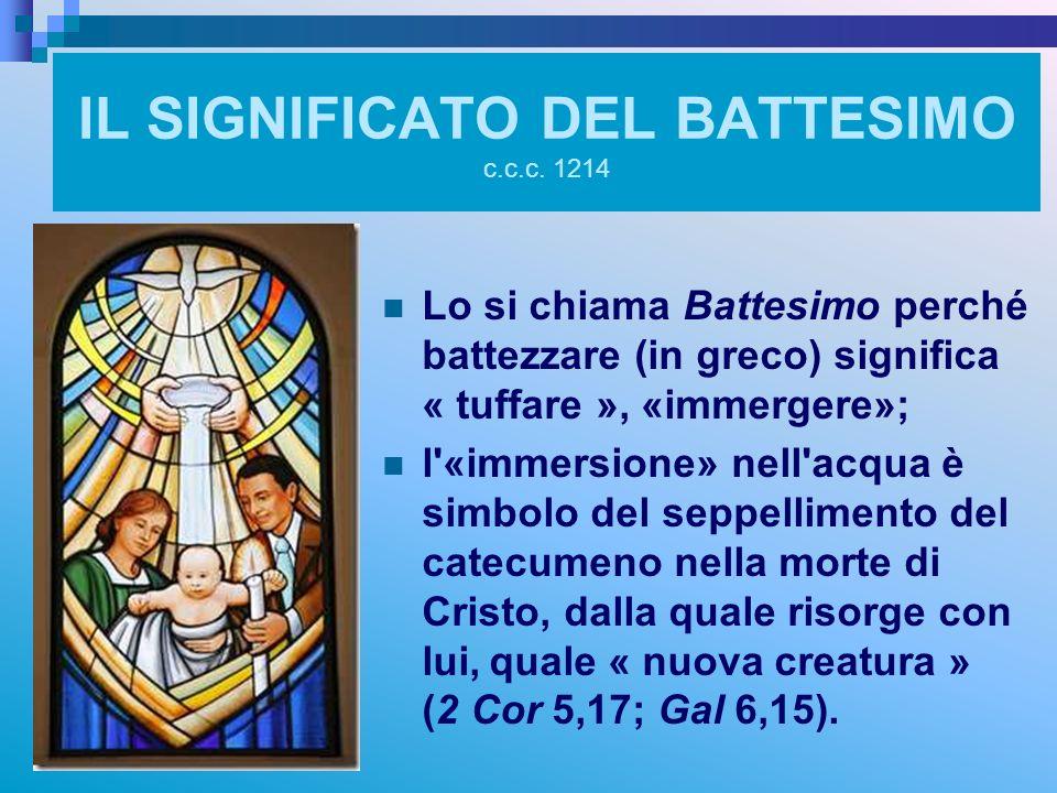 IL SIGNIFICATO DEL BATTESIMO c.c.c. 1214 Lo si chiama Battesimo perché battezzare (in greco) significa « tuffare », «immergere»; l'«immersione» nell'a