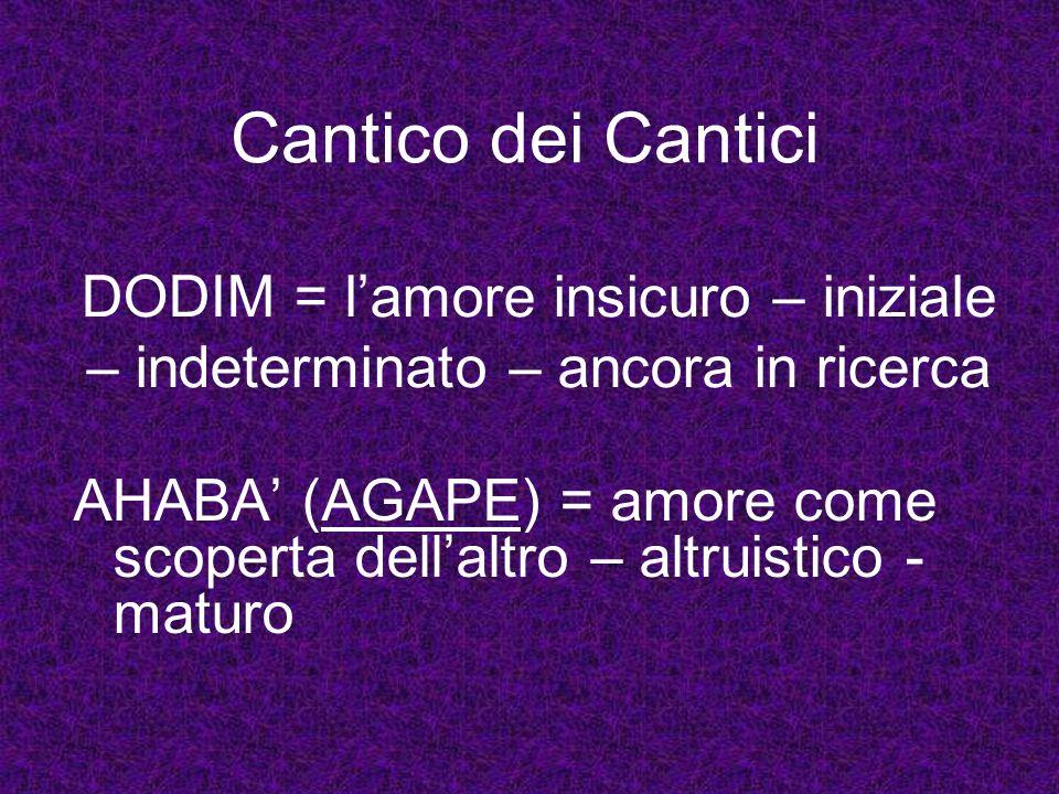 DODIM = lamore insicuro – iniziale – indeterminato – ancora in ricerca AHABA (AGAPE) = amore come scoperta dellaltro – altruistico - maturo Cantico de